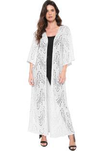 Kimono Lança Perfume Recortes Branco