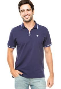 Camisa Polo Cavalera Zíper Azul Marinho
