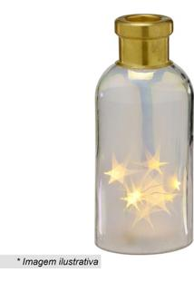 Garrafa Decorativa Com Luz- Incolor & Dourada- 24,5Xmabruk