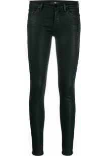 7 For All Mankind Low Rise Coated Skinny Trousers - Preto