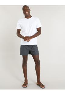 Pijama Masculino Com Camiseta Manga Curta + Samba Canção Branco