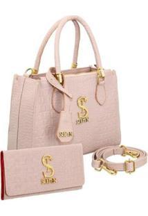 Kit Bolsa Selten Handbag Couro Croco + Carteira Feminina - Feminino-Nude