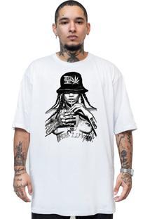 Camiseta Manga Curta Skull Clothing Rihanna Nude Branco
