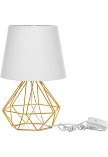 Abajur Diamante Dome Branco Com Aramado Amarelo - Branco - Dafiti
