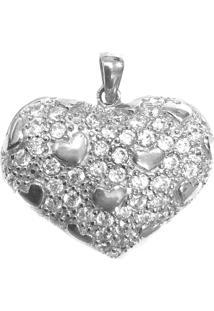 Pingente Prata Mil Coração De Prata Com Zircônia Prata - Kanui
