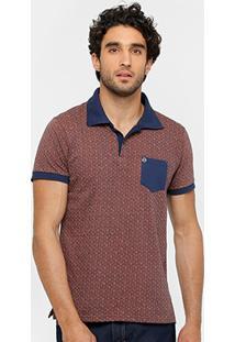 Camisa Polo Local Jacquard Bolso Gola Contraste Masculina - Masculino