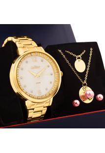 Kit Relógio Condor Feminino Com Colar E Brincos Co2036Muj/K4B