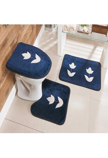 Jogo De Banheiro Bordado 3 Peças Antiderrapante Tulipa Azul Marinho - Tricae