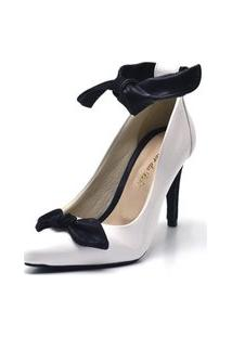 Sapato Scarpin Com Laço Salto Alto Fino Em Napa Verniz Branca