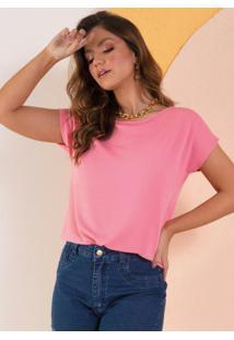 Blusa Soltinha Rosa Com Mangas Curtas