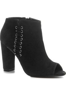 Ankle Boot Shoestock Open Boot Nobuck Feminina - Feminino-Preto