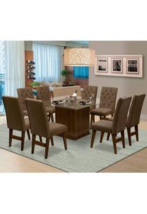 Mesa Para Sala De Jantar Saint Louis Com 8 Cadeiras – Dobuê Movelaria - Castanho / Cacau