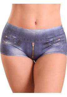 Calcinha Calesson Vip Lingerie Fake Jeans Azul