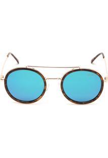 Óculos De Sol Khatto Redondo Tartaruga Marrom/Verde