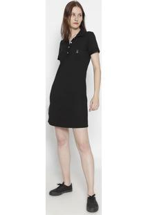 Vestido Com Bordado Frontal- Preto & Brancoclub Polo Collection