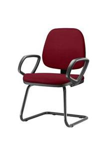 Cadeira Job Com Bracos Fixos Assento Crepe Vinho Base Fixa Preta - 54549 Vinho