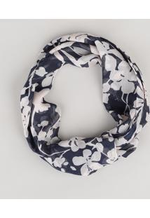 Lenço Estampado Floral Azul Marinho - Único