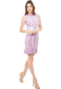 Vestido Curto Pink Tricot Modal Com Estampa Floral E Babado Na Barra Lilás/Branco