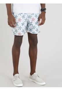 Short Masculino Estampado De Estrela Do Mar Verde Claro
