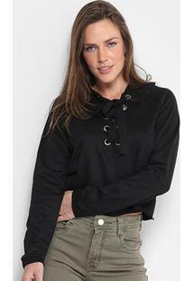 Blusa De Moletom Ms Fashion Capuz Feminina - Feminino-Preto