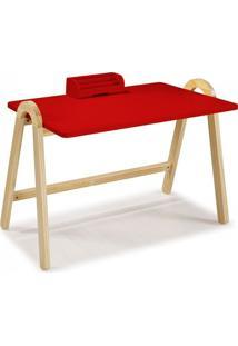 Escrivaninha Com Porta Objetos Ringo Maxima Natural/Vermelho