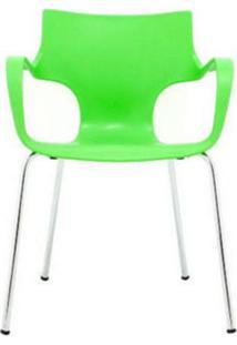 Cadeira Jim Base Fixa Cromada Cor Verde - 10316 - Sun House