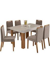 Mesa Retrátil Lena E 6 Cadeiras Para Sala De Jantar Alana N04 Off Whit