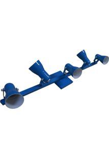 Spot No Trilho 95 Cm Para 05 Lâmpadas Direcional Azul