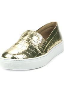 Tenis Love Shoes Slip On Alpargata Basico Croco Dourado
