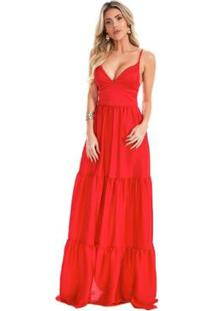 Vestido Longo Lala Dubi Franzido Camadas Chiffon - Feminino-Vermelho