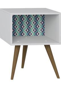 Criado Mudo Sem Porta 1001 Retro Branco/Estampa Azul - Bentec