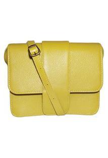 Bolsa De Couro Transpassada Básica - Ref.142 Amarelo