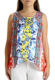 Blusa 101 Resort Wear Dupla Assimetrica Gráfico Laranja