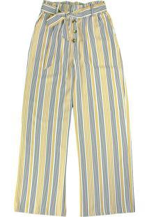 Calça Amarelo Pantalona Listrada Com Linho