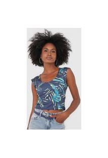Blusa Cropped Dimy Folhagem Azul-Marinho