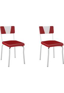 Cadeiras Kit 2 Cadeiras Retrô Pc13 Assento/Encosto Vinil Vermelho - Pozza