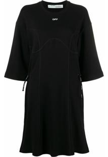 Off-White Vestido Coulisse - Preto