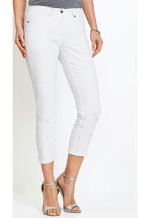 Calça De Sarja Com Pérolas Aplicadas Branca