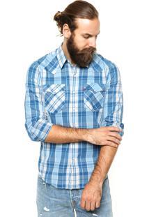 Camisa Levis Xadrez Azul/Branca