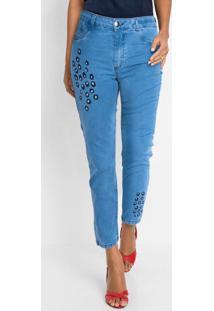 Calça Jeans Bordado Animal Print Azul Claro