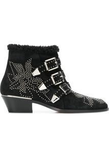 Chloé Ankle Boot 'Susanna' De Couro - Preto