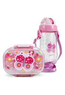 Conjunto Pote Para Lanche E Squeeze Infantil Borboleta Menina Jacki Design Pequeninos Rosa