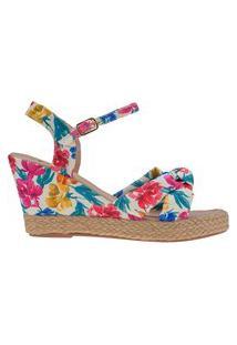 Sandália Anabela Feminina Floral Corda Laço Plataforma Sapato Joys