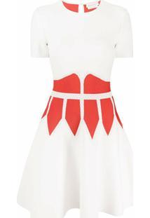 Alexander Mcqueen Vestido Evasê Color Block - Neutro
