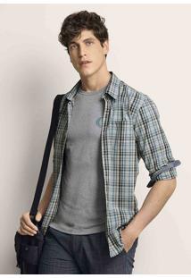 Camisa Masculina Em Tecido De Algodão Xadrez Com Fio Tinto