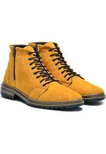 Bota Couro Sartre Coaching Masculina - Masculino-Amarelo
