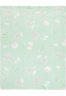 Cobertor Papi Microfibra Urso Verde - Kanui