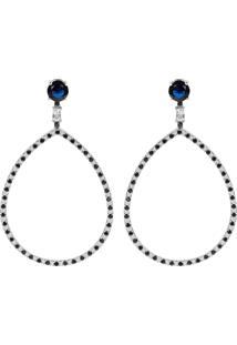 Brinco Longo Gota The Ring Boutique Pedra Cristal Azul Safira Ródio Ouro Branco