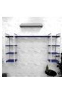 Estante Industrial Escritório Aço Cor Branco 180X30X98Cm (C)X(L)X(A) Cor Mdf Azul Modelo Ind51Azes