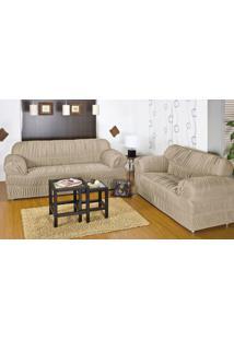 Capa Para Sofa Com 20 Elasticos E Em Malha Gel Para 2 Ou 3 Lugares Na Cor Areia - Capa De Sofa Adornare - Sina Enxovais
